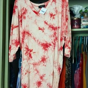 Orange tie dye tunic with ruched sides NWT
